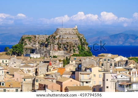 Corfu panorama over the old city. Venetian fortress in background and old clock tower, city symbol. - stock photo