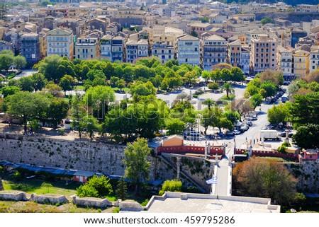 Corfu town aerial view - stock photo