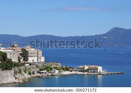 Corfu town and sea landscape Greece - stock photo