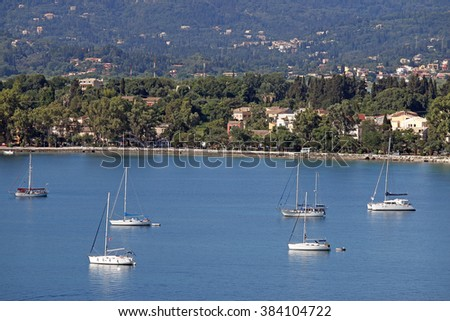Corfu town marine with yachts and sailboats Greece
