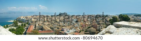 Corfu Town panoramic view from the New Fortress - stock photo
