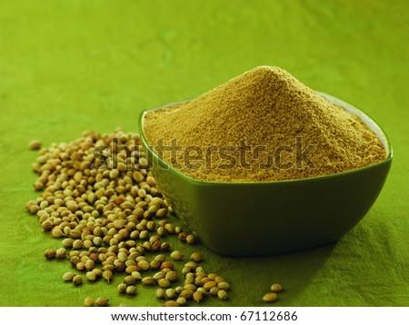 coriander powder and seeds - stock photo
