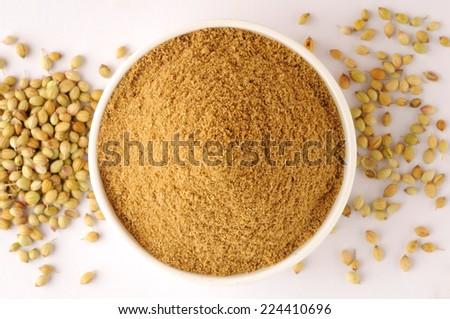 Coriander seeds, coriander  powder - stock photo