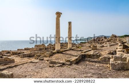Corinthian columns and ruins of ancient Tharros - Sardinia,Italy - stock photo