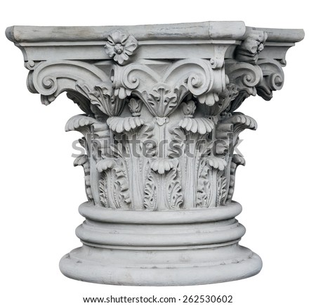 Corinthian Columns isolated on white background. Image include vector clipping path - stock photo