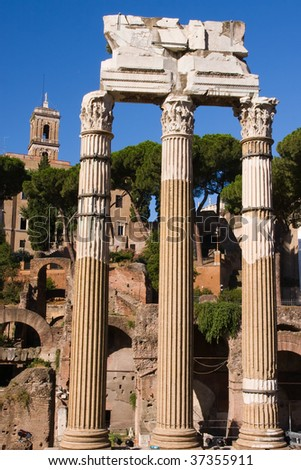 Corinthian columns of a temple in Rome, Italy.