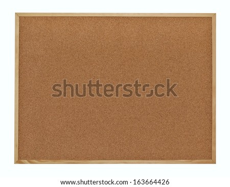 Cork board in a frame isolated over white background - stock photo