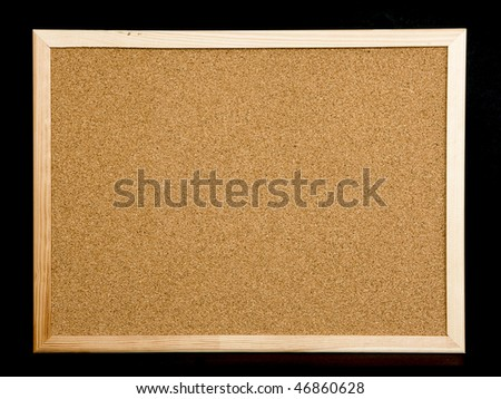 cork board on black background
