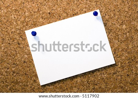 Cork-board with blank memo note