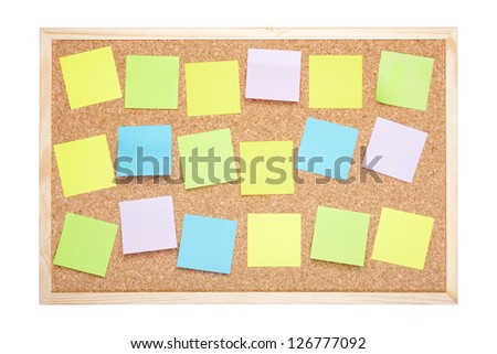 Cork board with blank notes isolated on white, clipping path included - stock photo