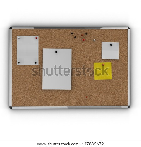 Cork board with metal frame. 3D render. - stock photo