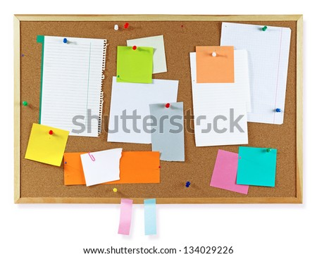 Cork board with notes, clipping path included - stock photo