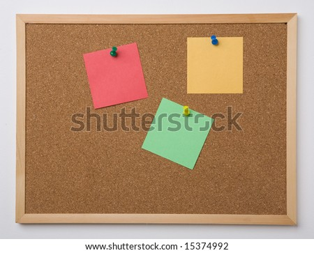 Cork board with pinned notes