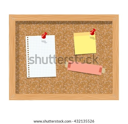Cork board with pinned paper notepad sheets realistic  illustration.  illustration board for notes. A noteboard made of cork with some pins and blank papers - stock photo