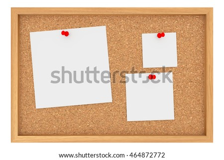 cork board with three blank sheets of paper isolated on white background 3d