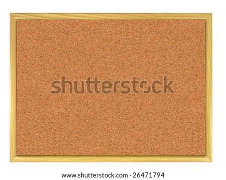 Cork board wooden framed isolated on white.