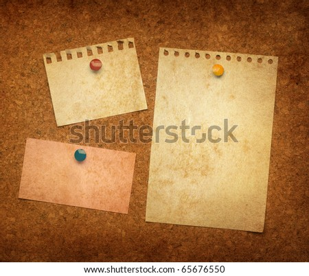 Cork bulletin board with notes of vintage style - stock photo