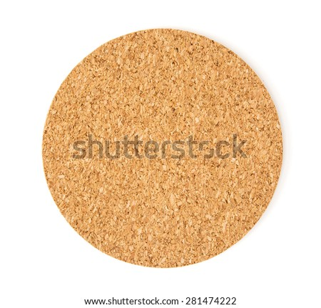 Cork drink coaster on the white background.