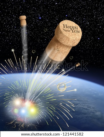 Buone Feste Stock-photo-cork-from-champagne-in-space-digital-painting-and-composition-121441582