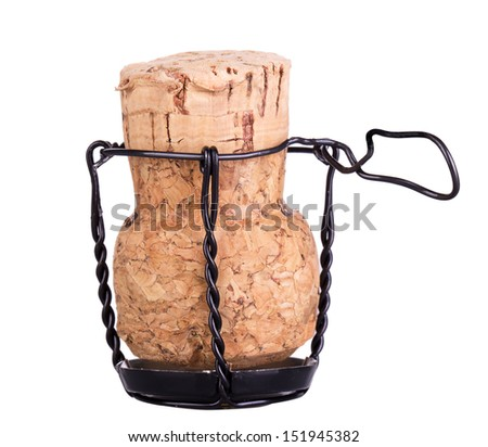 Cork from champagne isolated on white background - stock photo
