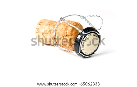 cork from sparkling wine on a white background - stock photo