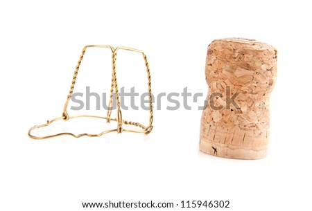 cork from the bottle of wine on a white background - stock photo