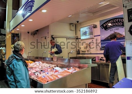 CORK, IRELAND - JUNE, 6 2012: local produces sold in the famous English market in Cork, Ireland