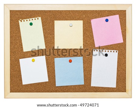 Cork memo board background with notes
