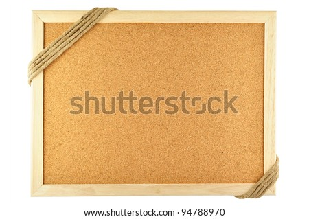 cork notice board and rope - stock photo