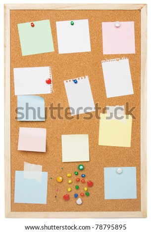 Cork notice board isolated on white background - stock photo
