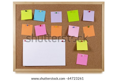 Cork office notice board with blank colorful sticker notes isolated over white background - stock photo