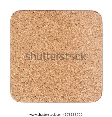 Cork table coaster isolated on white - stock photo