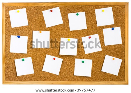 Corkboard with empty white notes pinned isolated on white - stock photo