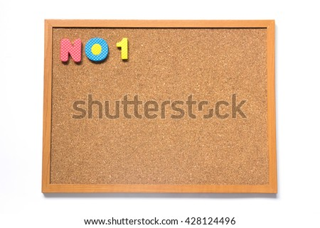 Corkboard with wording no. 1 placed on white background - stock photo
