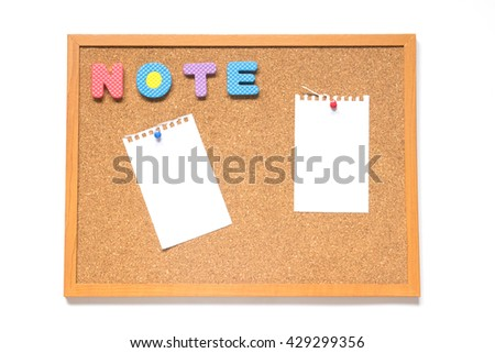 Corkboard with wording note and paper placed on white background
