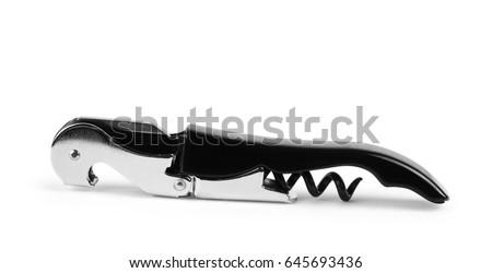 Corkscrew Isolated On White Background / Corkscrew On White Wooden Table  Background / Wine Stains Cork