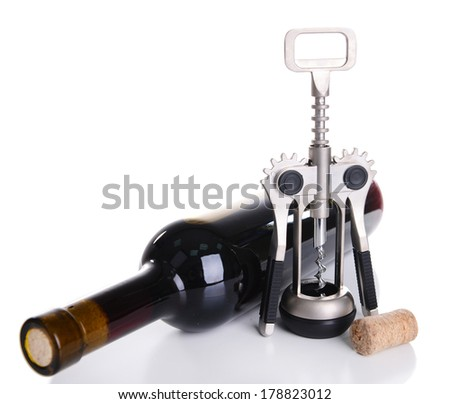 Corkscrew with bottle of wine isolated on white - stock photo