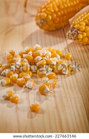corn and ear of corns on wooden table - stock photo