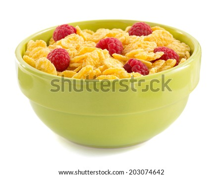 corn cereals and fresh raspberry - stock photo