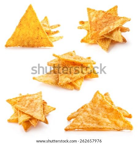 Corn chips with pepper isolated on white - stock photo