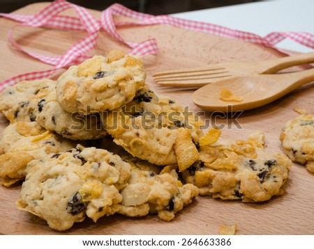 corn flake cereal cookie - stock photo