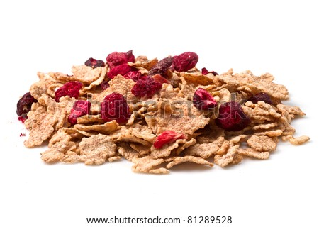 Corn flakes and red berries - stock photo