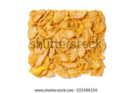 Corn flakes isolated on white background. Square shape. - stock photo