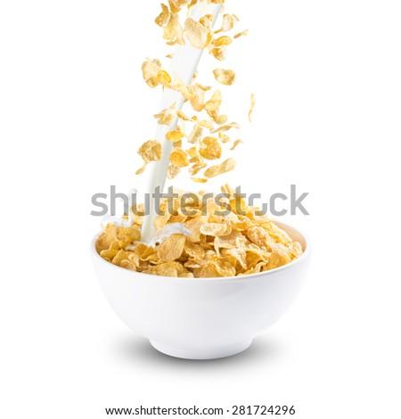 Corn Flakes With Milk Splash. Healthy Breakfast - stock photo