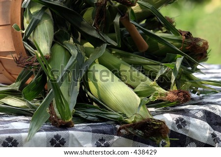 Corn in a basket on a picnic table.