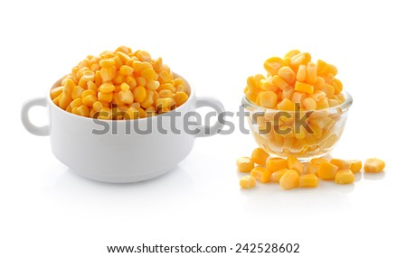 corn in bowl isolated on white - stock photo