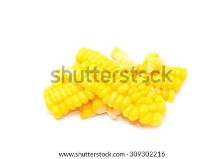 corn kernels isolated on white - stock photo