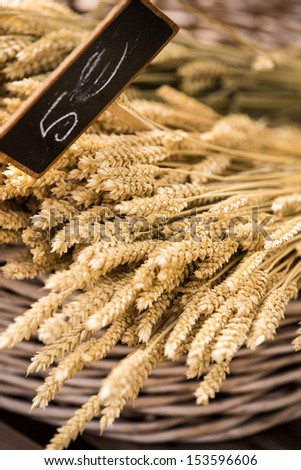 Corn lies in a basket at market stall in Provence France - stock photo