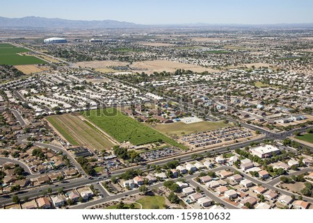 Corn Maze in Glendale, Arizona from above - stock photo