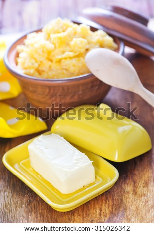 corn porridge with butter - stock photo